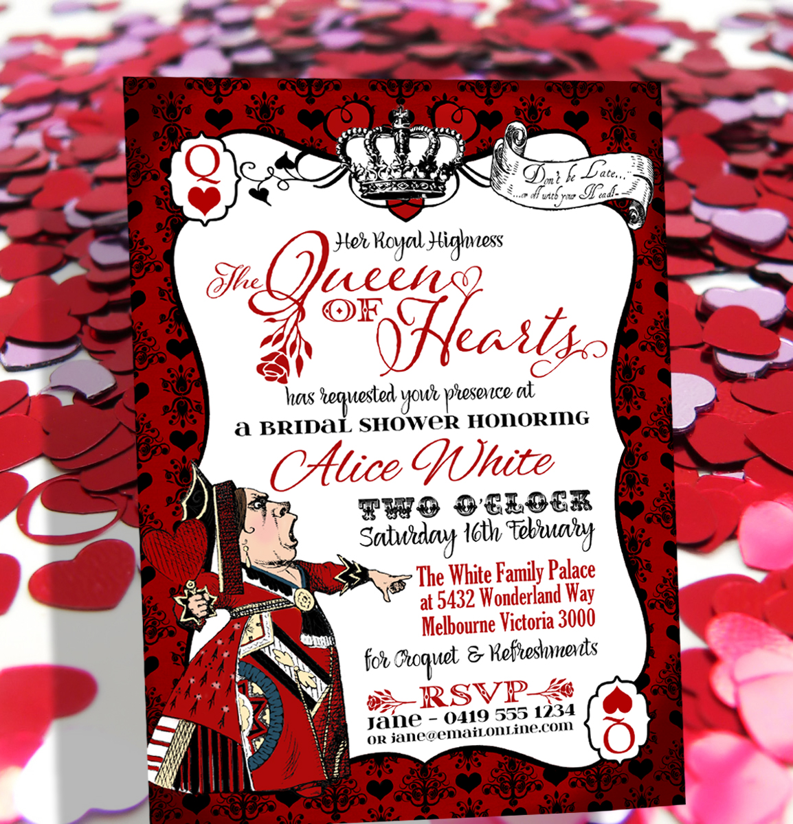 Queen Of Hearts Party Invitations