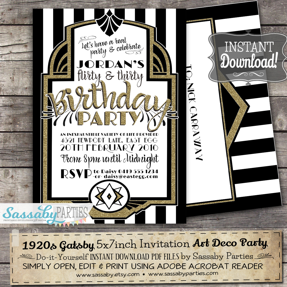 Gatsby Art Deco Birthday Invitation