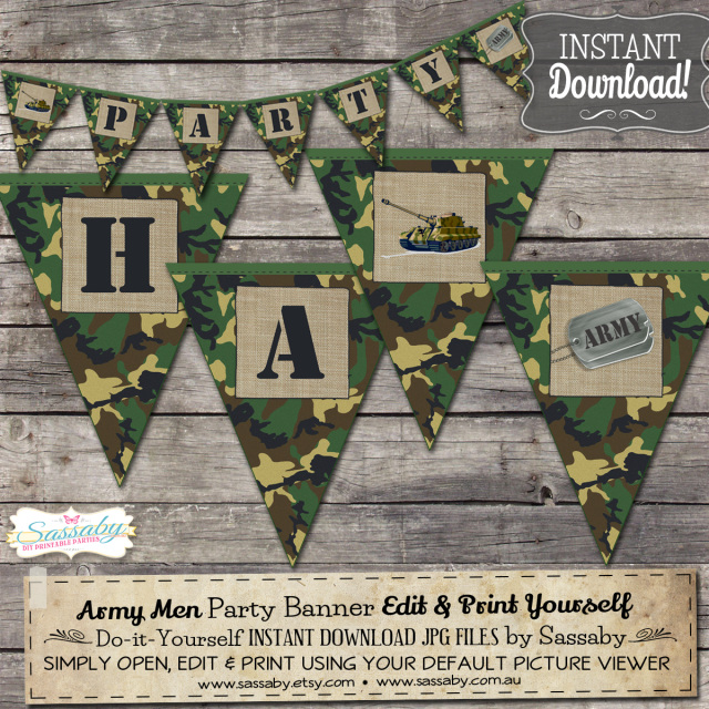 Army men editable invitation and printable party decorations for Army party decoration ideas